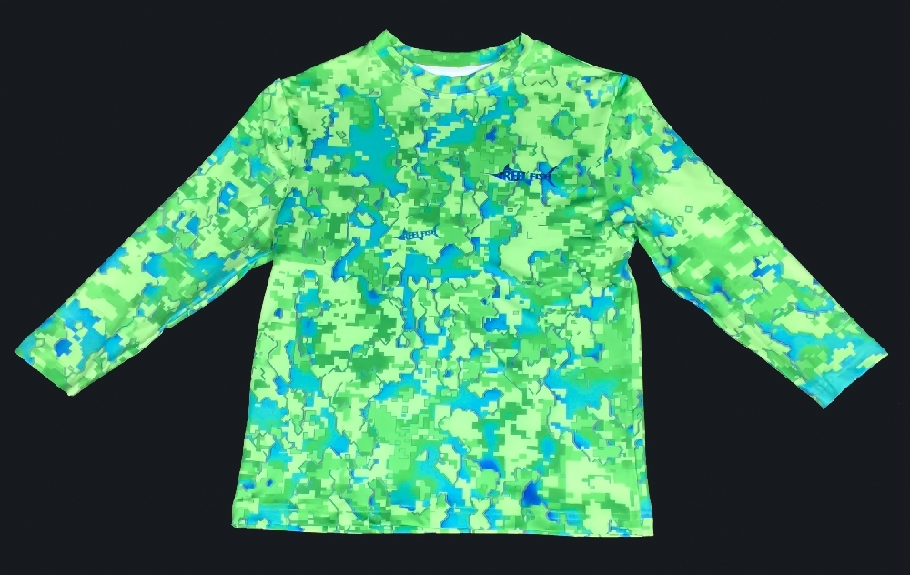 Reel fish outfitters reel fish mahi camo youth for Camo fishing shirt