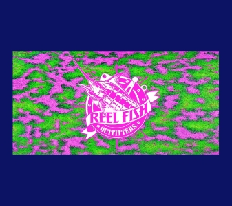 REEL FISH PINK CORAL™ Pattern License Plate in Sun Masks, Fishing Gear and Accessories