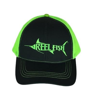 REEL FISH™ NEON GREEN TRUCKER HAT in Men's and Women's Headwear, Caps and Hats