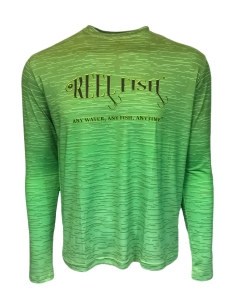 Men's REEL FISH BOTTOMS UP™ Green UV Performance Shirt in Men's Clothing and Apparel